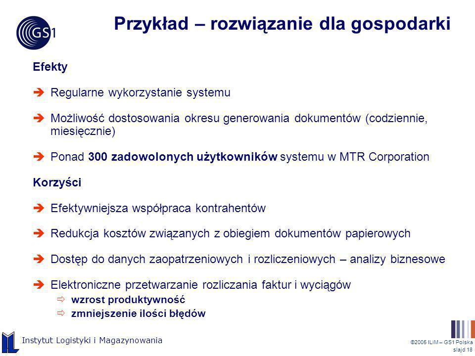 ©2005 ILiM – GS1 Polska slajd 18 Instytut Logistyki i Magazynowania Przykład – rozwiązanie dla gospodarki Efekty Regularne wykorzystanie systemu Możli