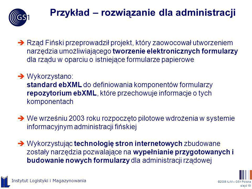 ©2005 ILiM – GS1 Polska slajd 19 Instytut Logistyki i Magazynowania Przykład – rozwiązanie dla administracji Rząd Fiński przeprowadził projekt, który