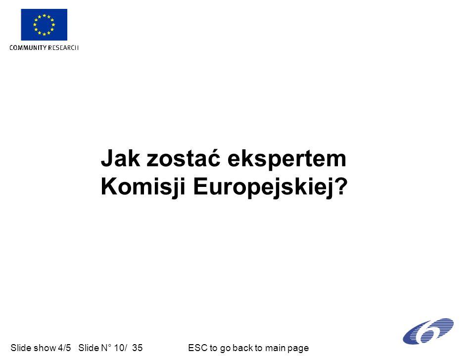 Slide show 4/5 Slide N° 10/ 35 ESC to go back to main page Jak zostać ekspertem Komisji Europejskiej