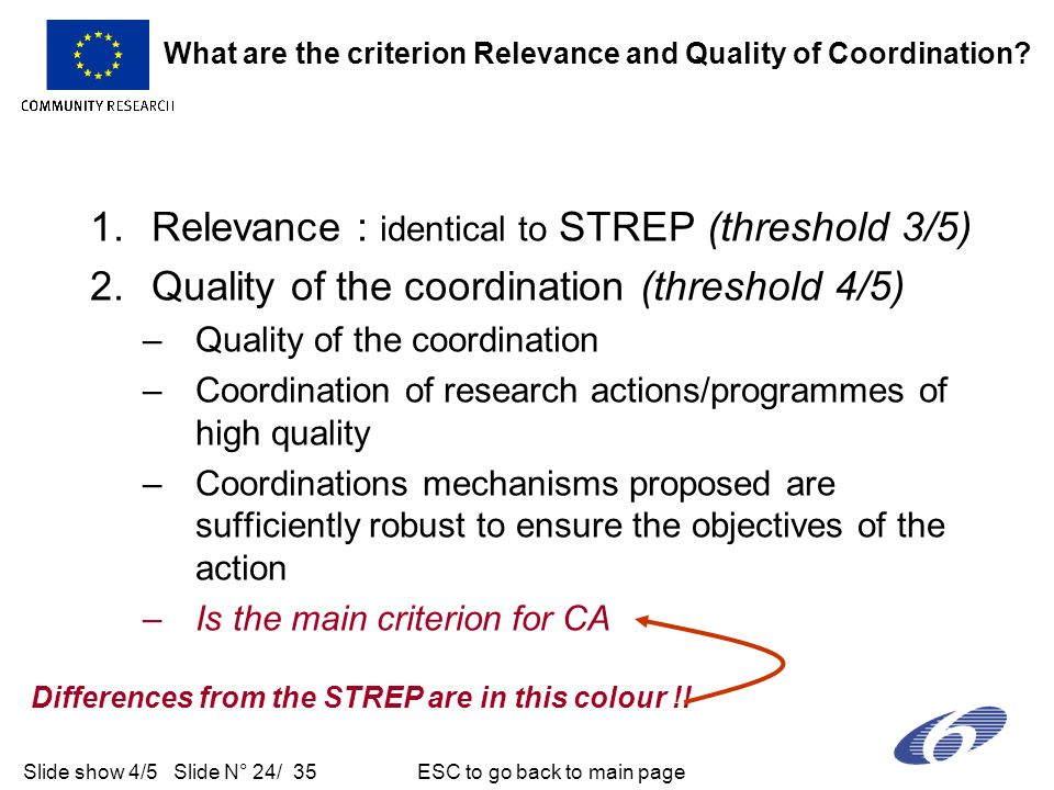 Slide show 4/5 Slide N° 24/ 35 ESC to go back to main page 1.Relevance : identical to STREP (threshold 3/5) 2.Quality of the coordination (threshold 4/5) –Quality of the coordination –Coordination of research actions/programmes of high quality –Coordinations mechanisms proposed are sufficiently robust to ensure the objectives of the action –Is the main criterion for CA What are the criterion Relevance and Quality of Coordination.
