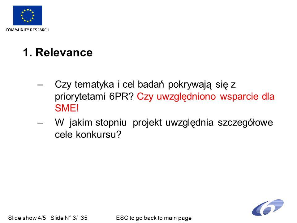 Slide show 4/5 Slide N° 3/ 35 ESC to go back to main page 1. Relevance –Czy tematyka i cel badań pokrywają się z priorytetami 6PR? Czy uwzględniono ws