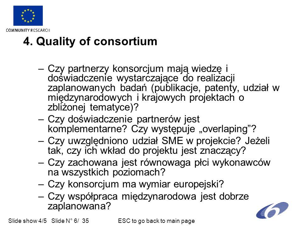 Slide show 4/5 Slide N° 6/ 35 ESC to go back to main page 4. Quality of consortium –Czy partnerzy konsorcjum mają wiedzę i doświadczenie wystarczające