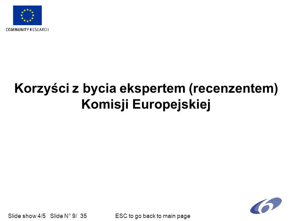 Slide show 4/5 Slide N° 9/ 35 ESC to go back to main page Korzyści z bycia ekspertem (recenzentem) Komisji Europejskiej