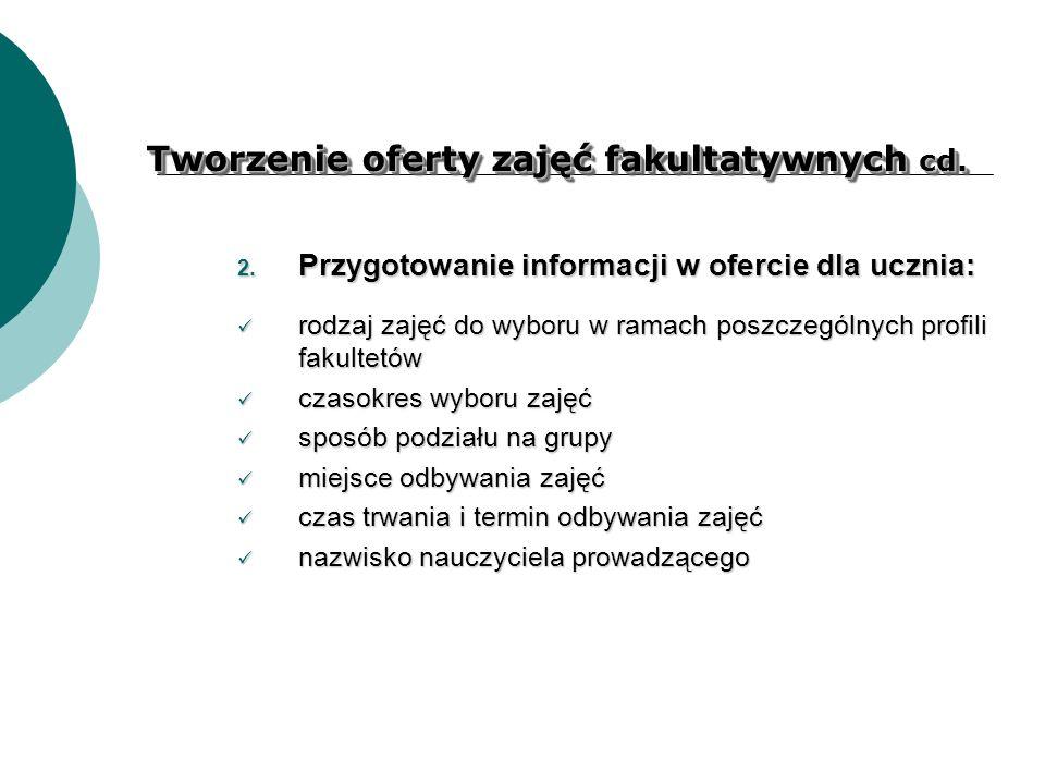 Tworzenie oferty zajęć fakultatywnych cd. 2. Przygotowanie informacji w ofercie dla ucznia: rodzaj zajęć do wyboru w ramach poszczególnych profili fak
