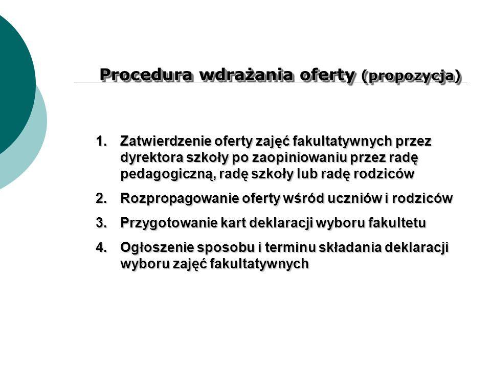 Procedura wdrażania oferty (propozycja) 1.Zatwierdzenie oferty zajęć fakultatywnych przez dyrektora szkoły po zaopiniowaniu przez radę pedagogiczną, r