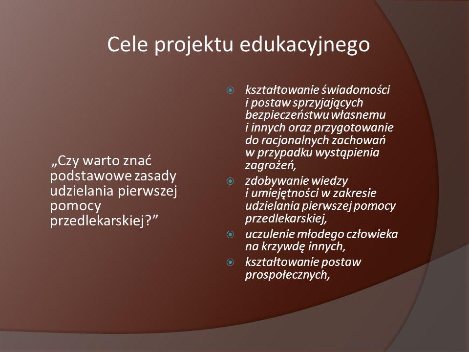 Efekty naszej pracy Prezentacja multimedialna (38 slajdów) Pierwsza pomoc w nagłych wypadkach Tablice poglądowe