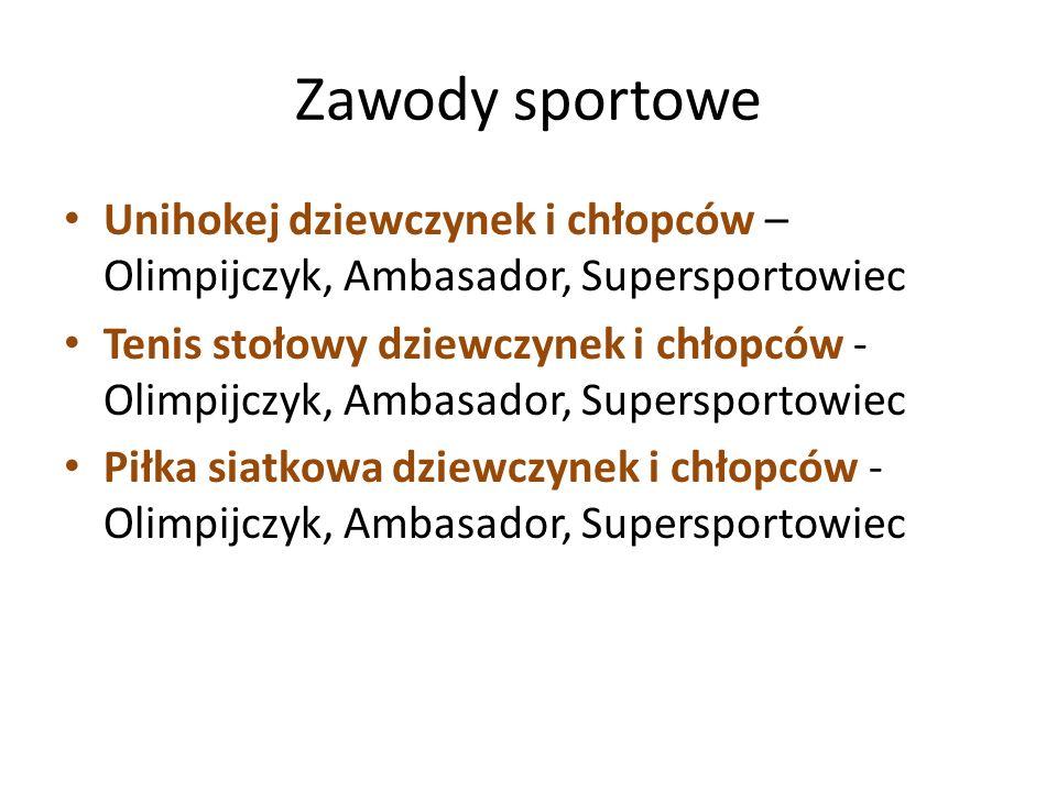 Zawody sportowe Unihokej dziewczynek i chłopców – Olimpijczyk, Ambasador, Supersportowiec Tenis stołowy dziewczynek i chłopców - Olimpijczyk, Ambasado