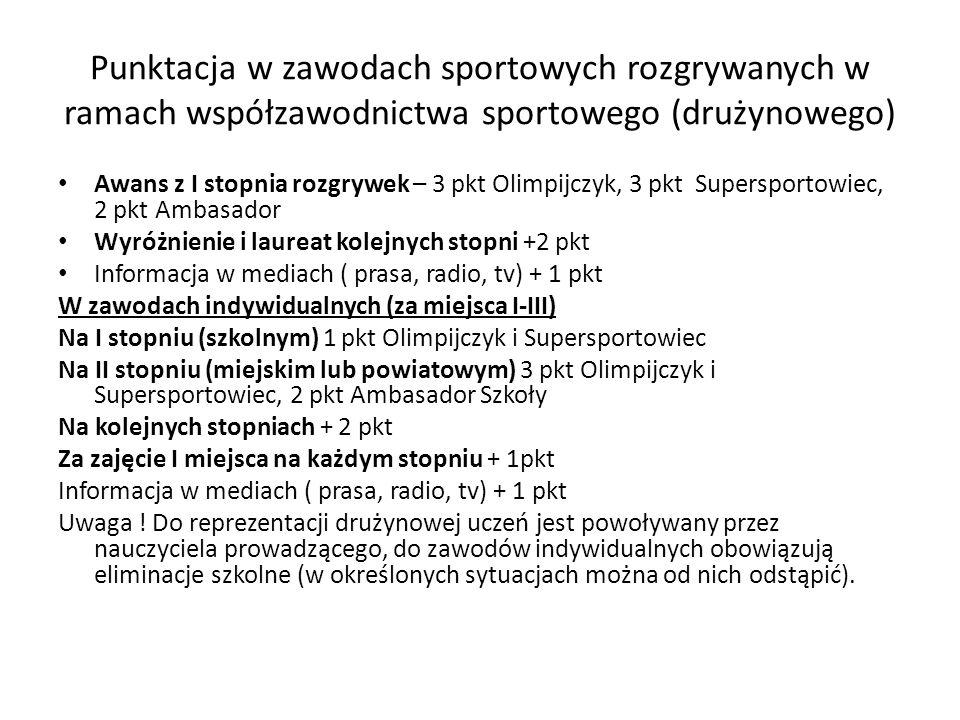 Punktacja w zawodach sportowych rozgrywanych w ramach współzawodnictwa sportowego (drużynowego) Awans z I stopnia rozgrywek – 3 pkt Olimpijczyk, 3 pkt