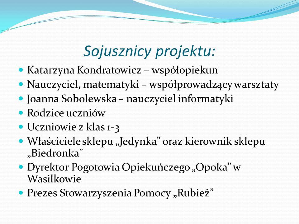 Sojusznicy projektu: Katarzyna Kondratowicz – współopiekun Nauczyciel, matematyki – współprowadzący warsztaty Joanna Sobolewska – nauczyciel informaty