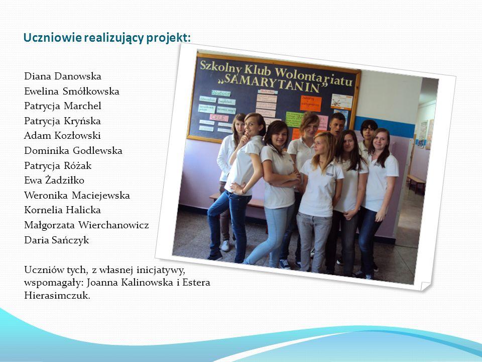 Uczniowie realizujący projekt: Diana Danowska Ewelina Smółkowska Patrycja Marchel Patrycja Kryńska Adam Kozłowski Dominika Godlewska Patrycja Różak Ew