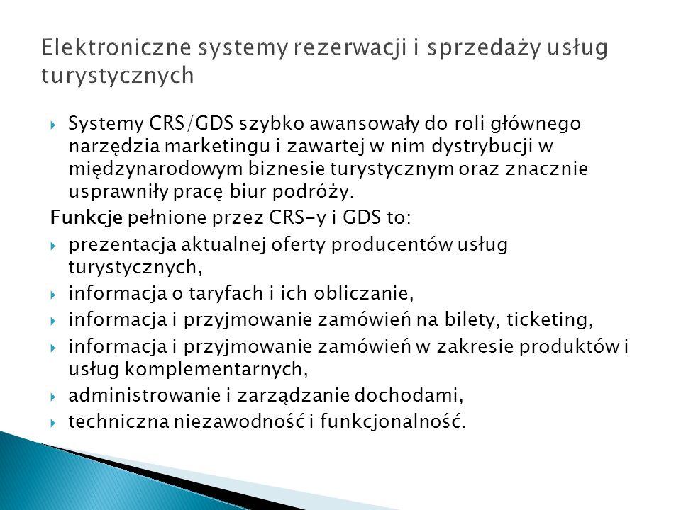 Systemy CRS/GDS szybko awansowały do roli głównego narzędzia marketingu i zawartej w nim dystrybucji w międzynarodowym biznesie turystycznym oraz znac
