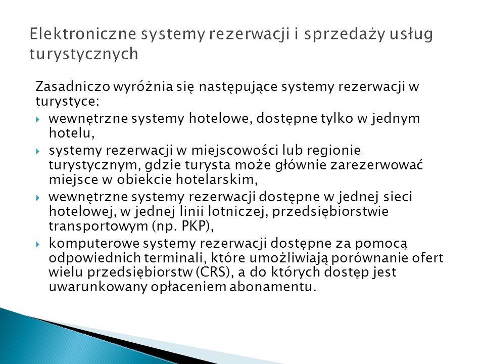 Zasadniczo wyróżnia się następujące systemy rezerwacji w turystyce: wewnętrzne systemy hotelowe, dostępne tylko w jednym hotelu, systemy rezerwacji w