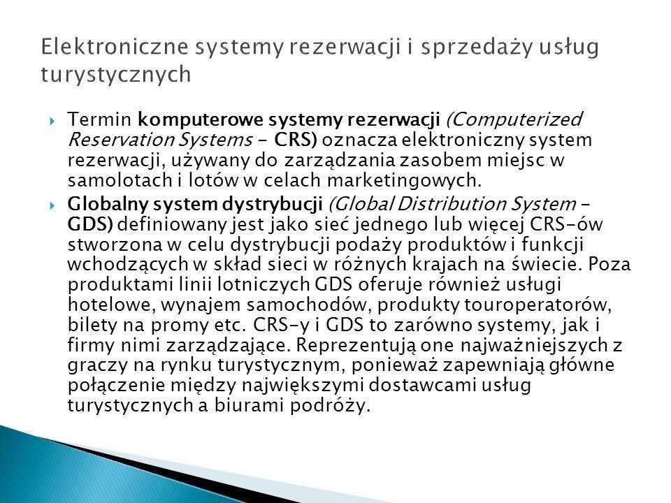 Termin komputerowe systemy rezerwacji (Computerized Reservation Systems - CRS) oznacza elektroniczny system rezerwacji, używany do zarządzania zasobem