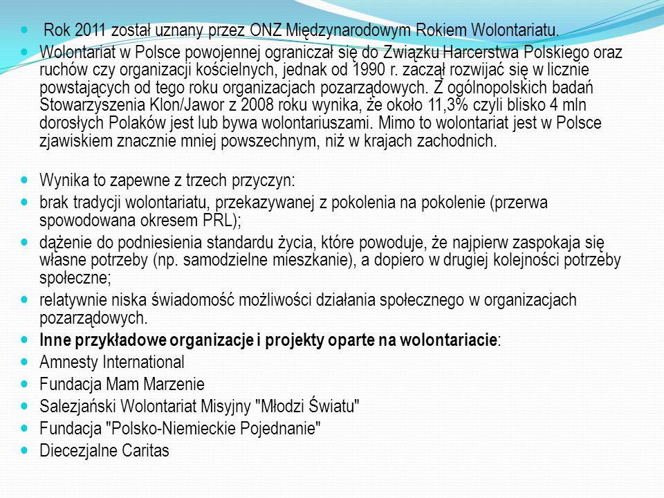 Rok 2011 został uznany przez ONZ Międzynarodowym Rokiem Wolontariatu. Wolontariat w Polsce powojennej ograniczał się do Związku Harcerstwa Polskiego o