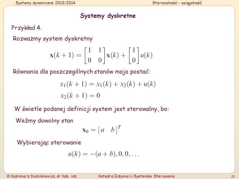 Systemy dynamiczne 2013/2014Sterowalność - osiągalność Kazimierz Duzinkiewicz, dr hab. inż.Katedra Inżynierii Systemów Sterowania 35 Systemy dyskretne