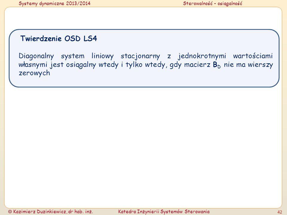 Systemy dynamiczne 2013/2014Sterowalność - osiągalność Kazimierz Duzinkiewicz, dr hab. inż.Katedra Inżynierii Systemów Sterowania 42 Diagonalny system