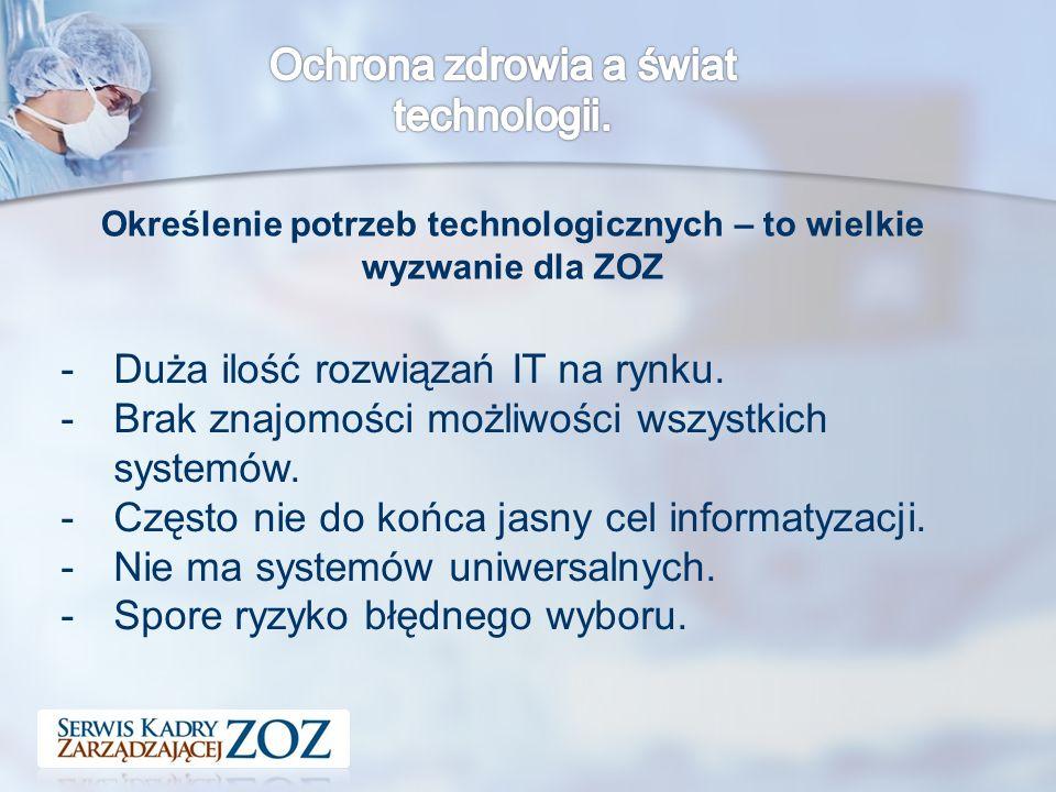 Określenie potrzeb technologicznych – to wielkie wyzwanie dla ZOZ -Duża ilość rozwiązań IT na rynku.