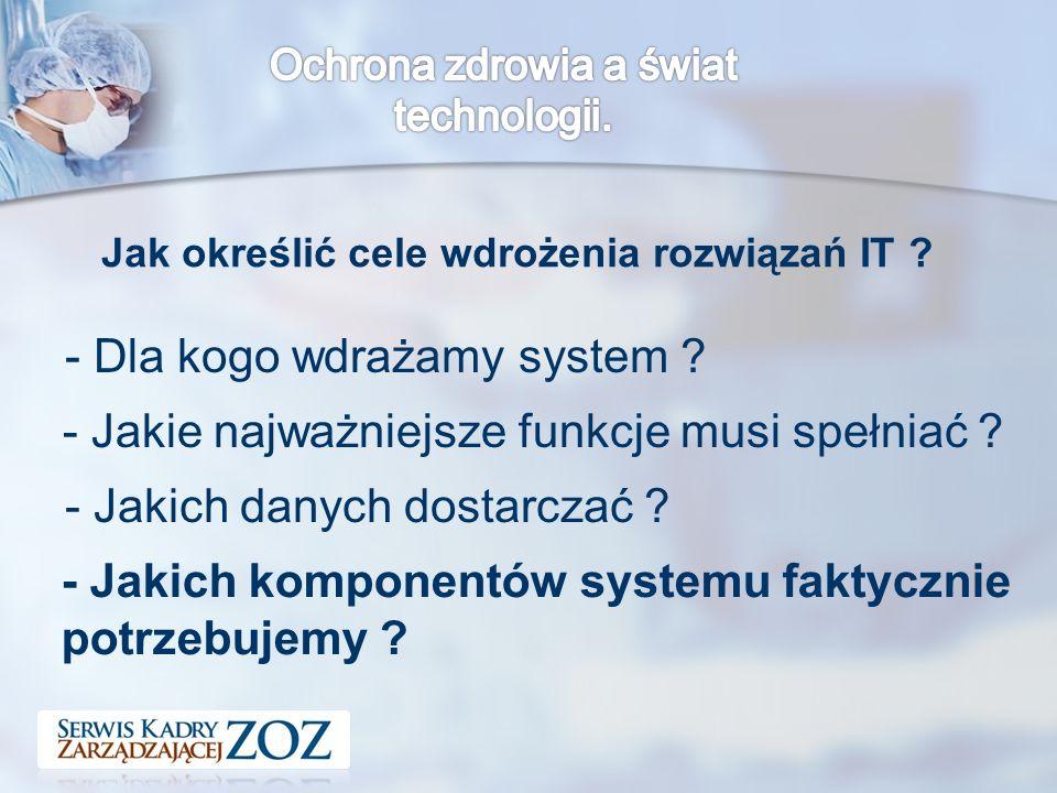 Jak określić cele wdrożenia rozwiązań IT . - Dla kogo wdrażamy system .