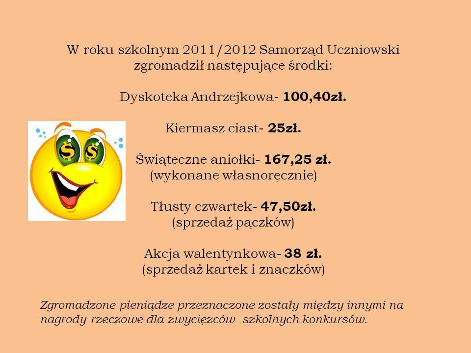 W roku szkolnym 2011/2012 Samorząd Uczniowski zgromadził następujące środki: Dyskoteka Andrzejkowa- 100,40zł. Kiermasz ciast- 25zł. Świąteczne aniołki