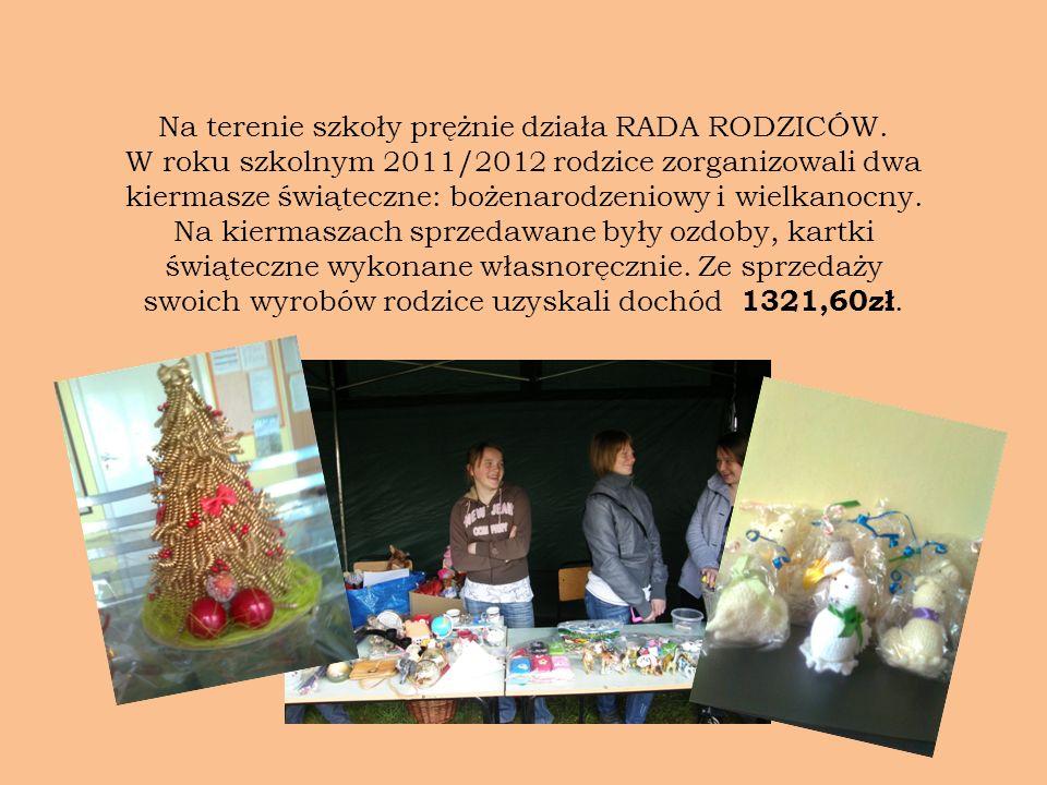 Na terenie szkoły prężnie działa RADA RODZICÓW. W roku szkolnym 2011/2012 rodzice zorganizowali dwa kiermasze świąteczne: bożenarodzeniowy i wielkanoc