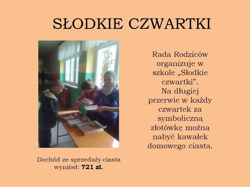 Rada Rodziców organizuje w szkole Słodkie czwartki. Na długiej przerwie w każdy czwartek za symboliczną złotówkę można nabyć kawałek domowego ciasta.