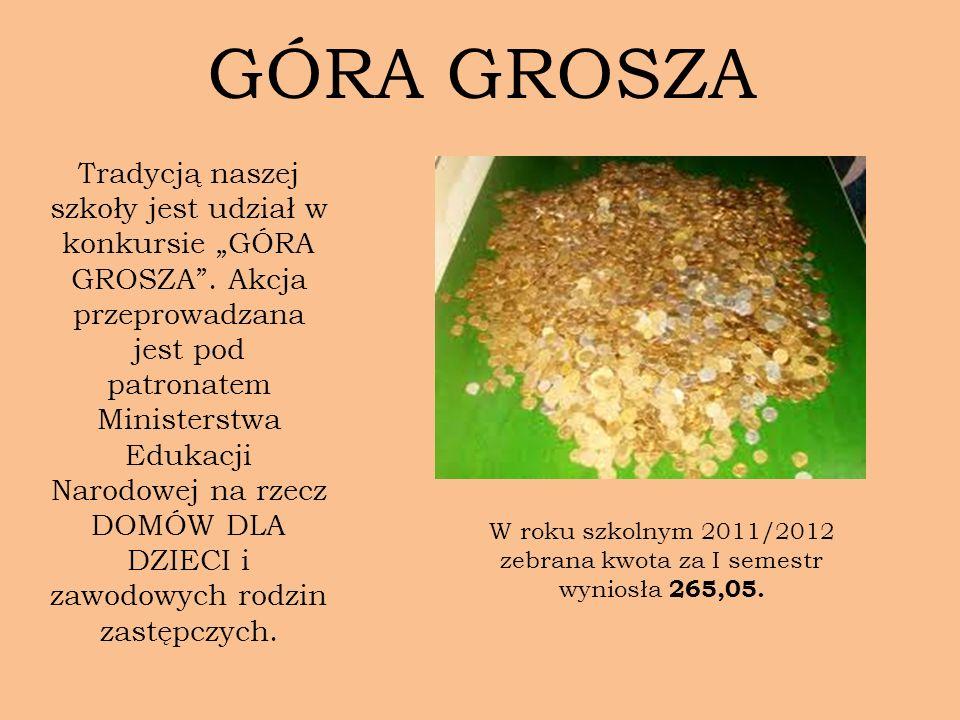 GÓRA GROSZA Tradycją naszej szkoły jest udział w konkursie GÓRA GROSZA. Akcja przeprowadzana jest pod patronatem Ministerstwa Edukacji Narodowej na rz