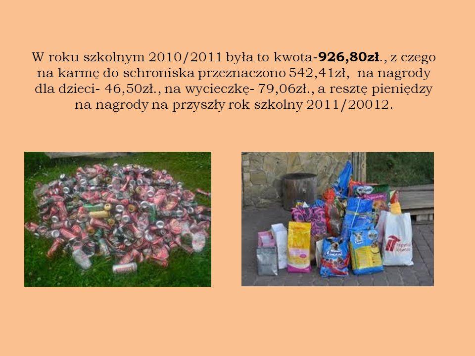 W roku szkolnym 2010/2011 była to kwota- 926,80zł., z czego na karmę do schroniska przeznaczono 542,41zł, na nagrody dla dzieci- 46,50zł., na wycieczk