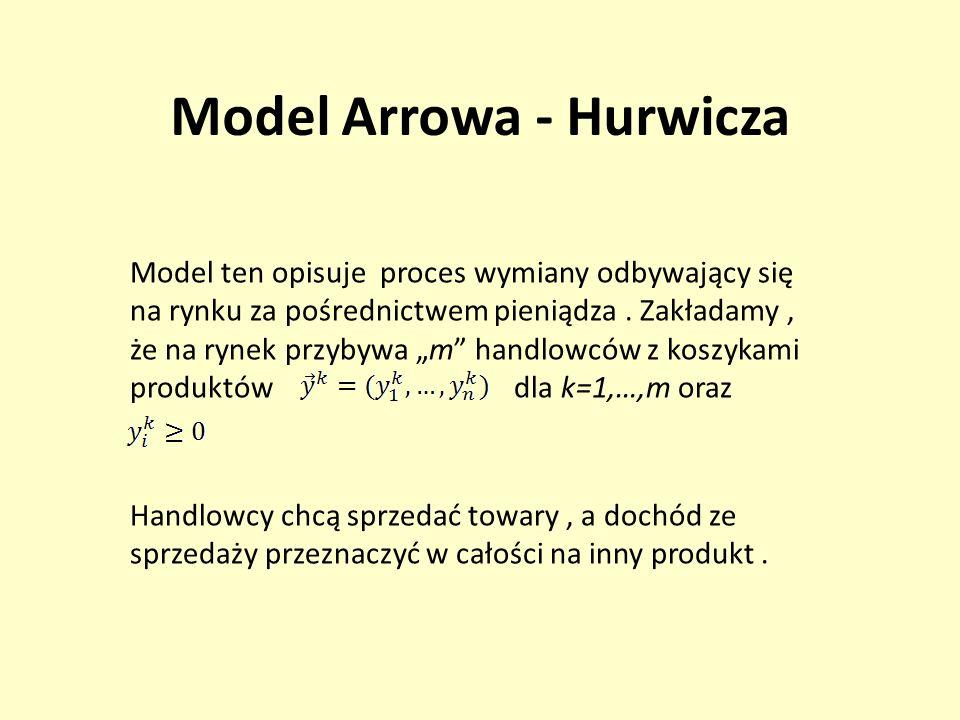 Model Arrowa - Hurwicza Model ten opisuje proces wymiany odbywający się na rynku za pośrednictwem pieniądza. Zakładamy, że na rynek przybywa m handlow