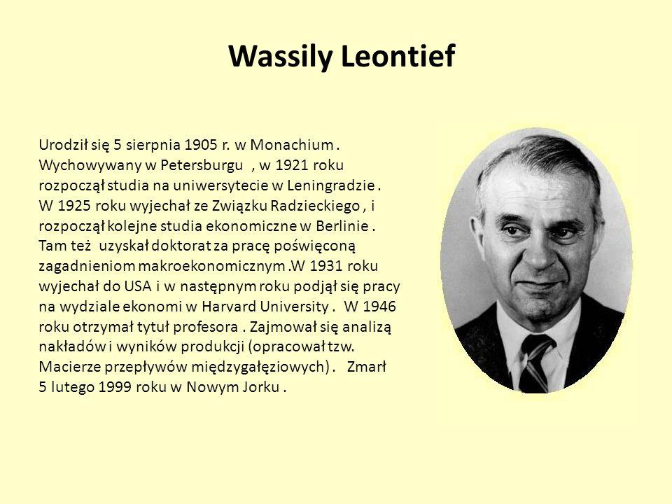 Wassily Leontief Urodził się 5 sierpnia 1905 r. w Monachium. Wychowywany w Petersburgu, w 1921 roku rozpoczął studia na uniwersytecie w Leningradzie.