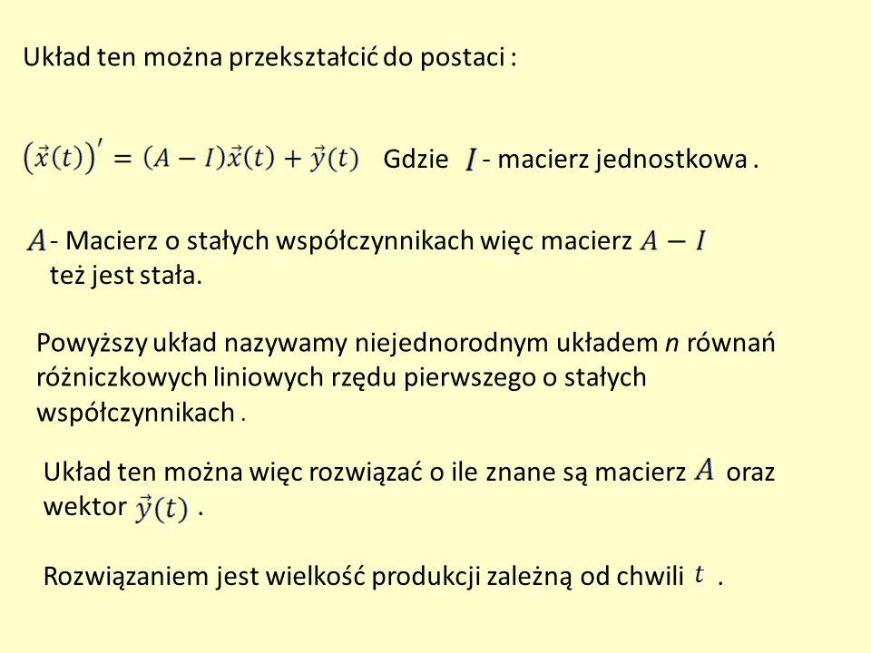 Układ ten można przekształcić do postaci : Gdzie - macierz jednostkowa. - Macierz o stałych współczynnikach więc macierz też jest stała. Powyższy ukła