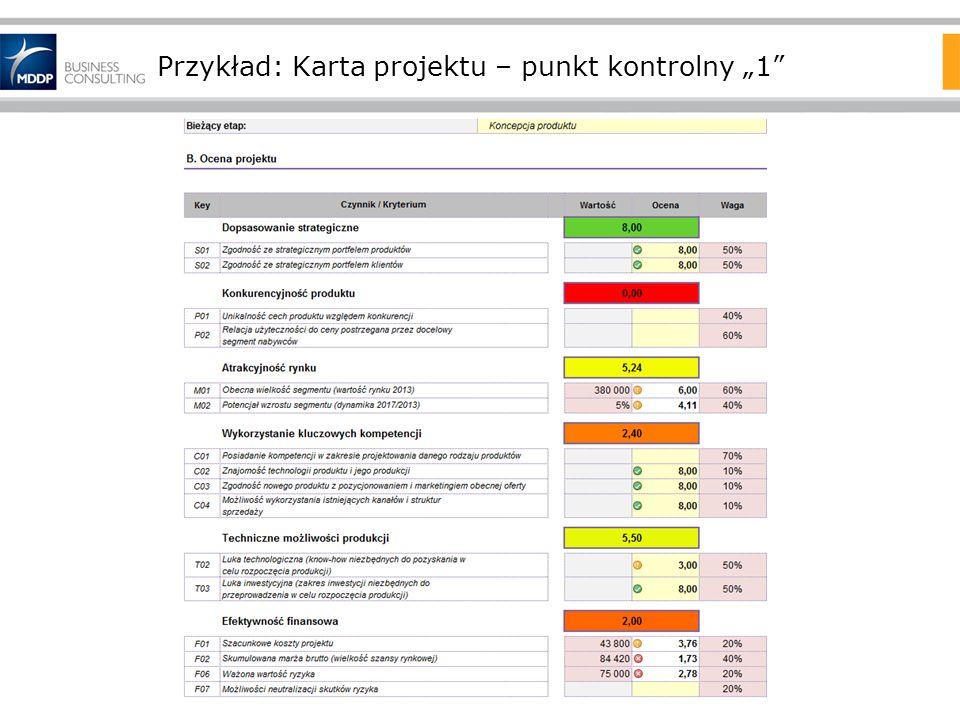 Przykład: Karta projektu – punkt kontrolny 1