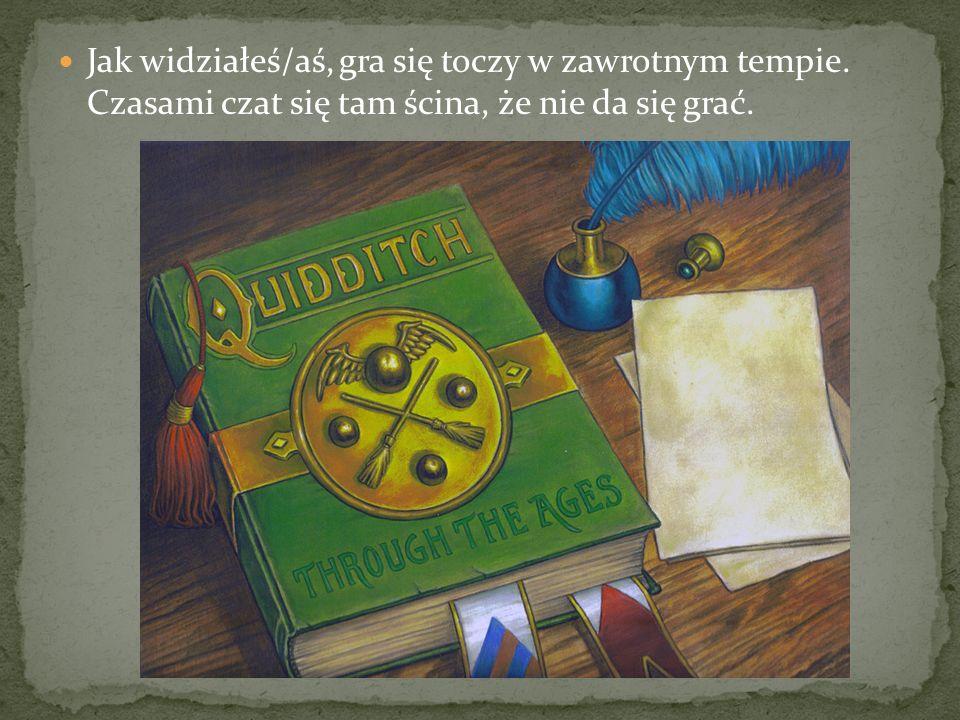 Więc zapraszam na lekcje Quidditcha.Może i ty zakochasz się w tej grze jak ja.