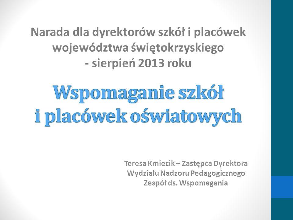 Teresa Kmiecik – Zastępca Dyrektora Wydziału Nadzoru Pedagogicznego Zespół ds. Wspomagania Narada dla dyrektorów szkół i placówek województwa świętokr