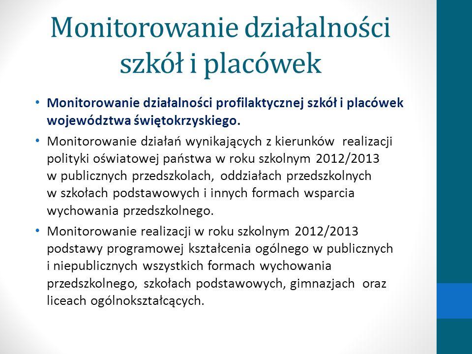 Monitorowanie działalności szkół i placówek Monitorowanie działalności profilaktycznej szkół i placówek województwa świętokrzyskiego. Monitorowanie dz