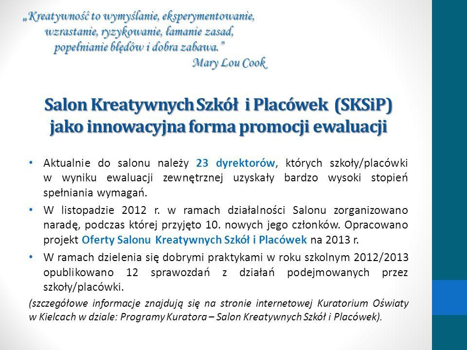 Salon Kreatywnych Szkół i Placówek (SKSiP) jako innowacyjna forma promocji ewaluacji Aktualnie do salonu należy 23 dyrektorów, których szkoły/placówki
