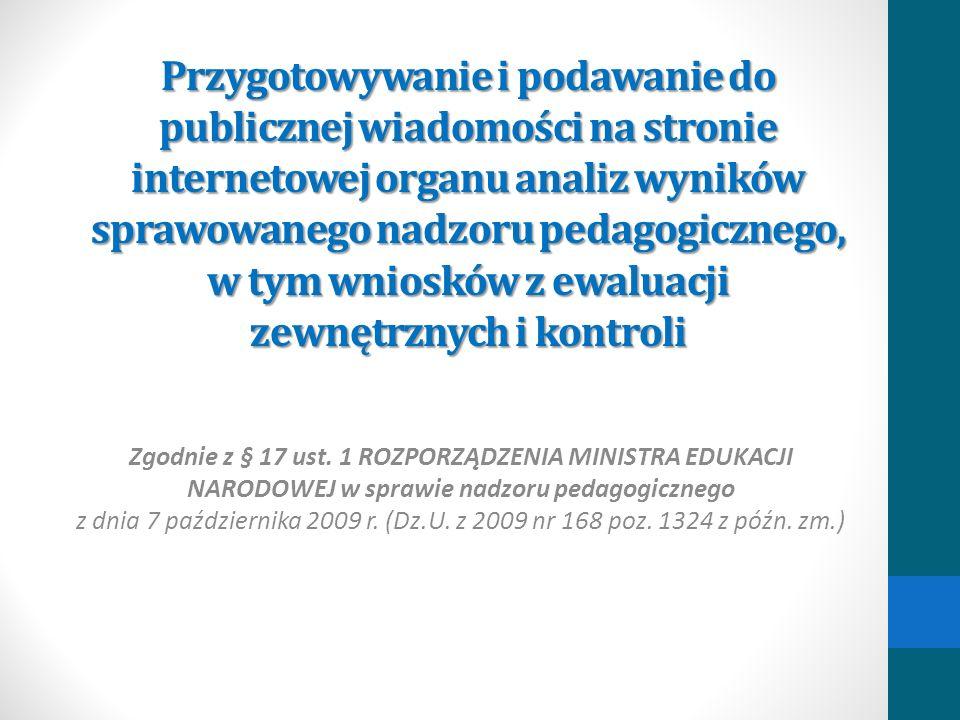 Przygotowywanie i podawanie do publicznej wiadomości na stronie internetowej organu analiz wyników sprawowanego nadzoru pedagogicznego, w tym wniosków