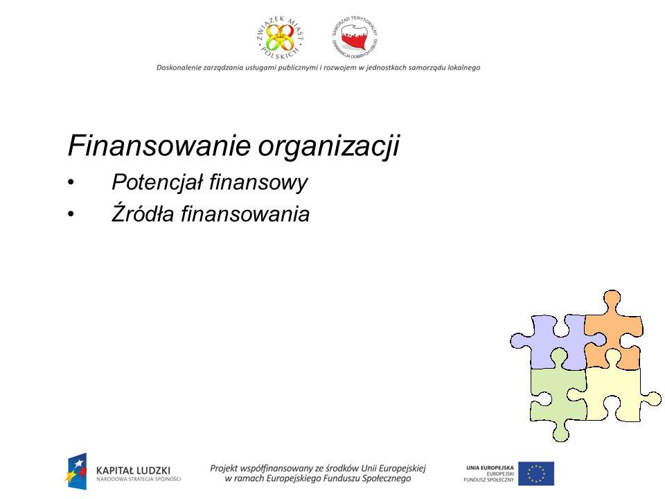 Finansowanie organizacji Potencjał finansowy Źródła finansowania