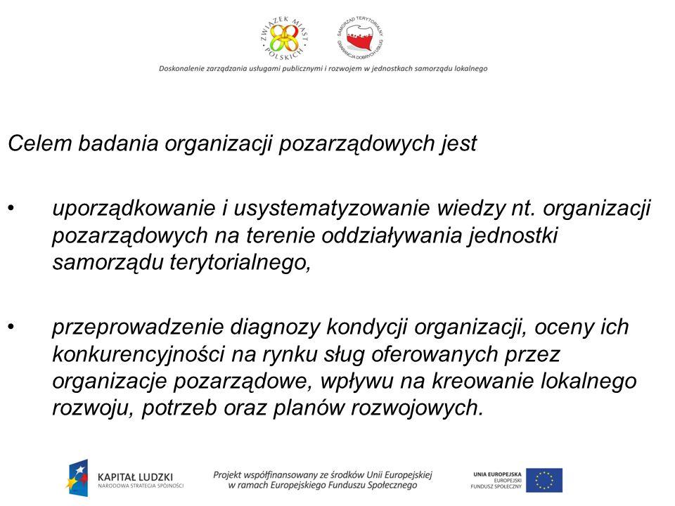Celem badania organizacji pozarządowych jest uporządkowanie i usystematyzowanie wiedzy nt.