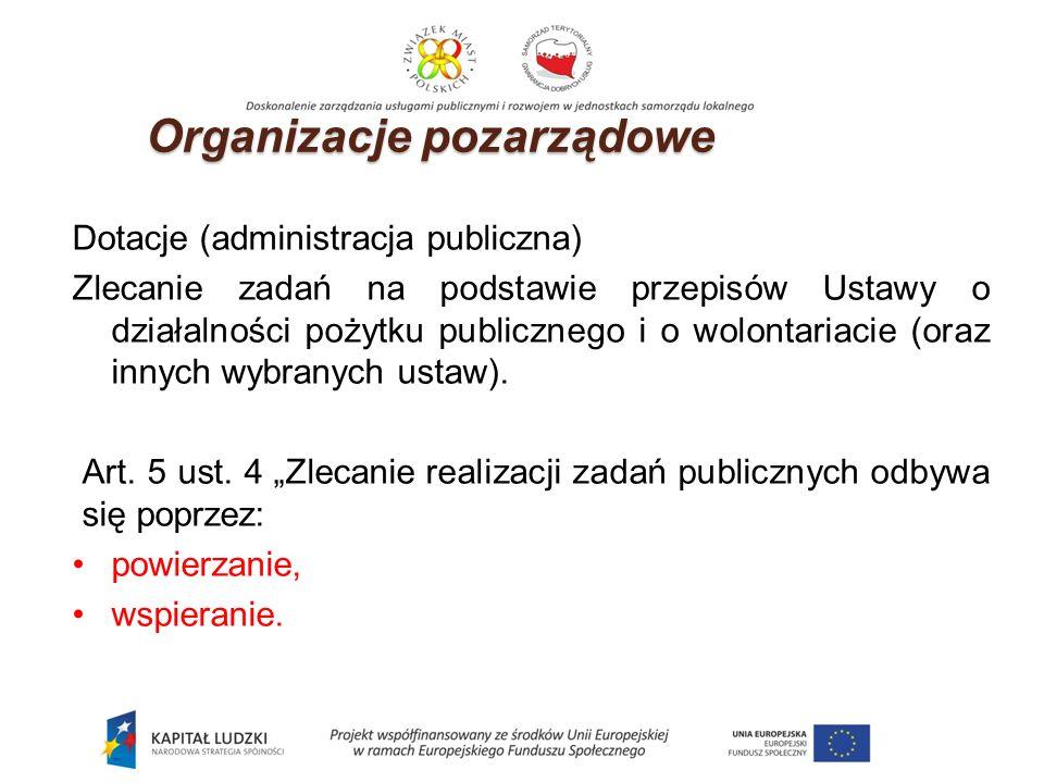 Dotacje (administracja publiczna) Zlecanie zadań na podstawie przepisów Ustawy o działalności pożytku publicznego i o wolontariacie (oraz innych wybranych ustaw).