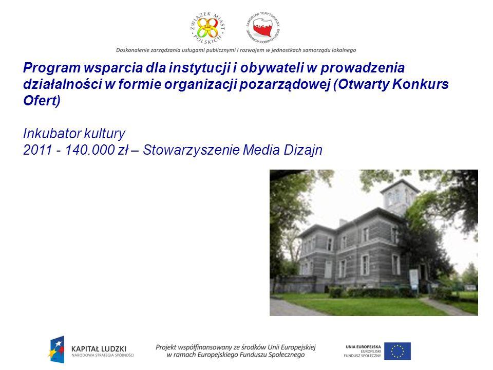 Program wsparcia dla instytucji i obywateli w prowadzenia działalności w formie organizacji pozarządowej (Otwarty Konkurs Ofert) Inkubator kultury 2011 - 140.000 zł – Stowarzyszenie Media Dizajn