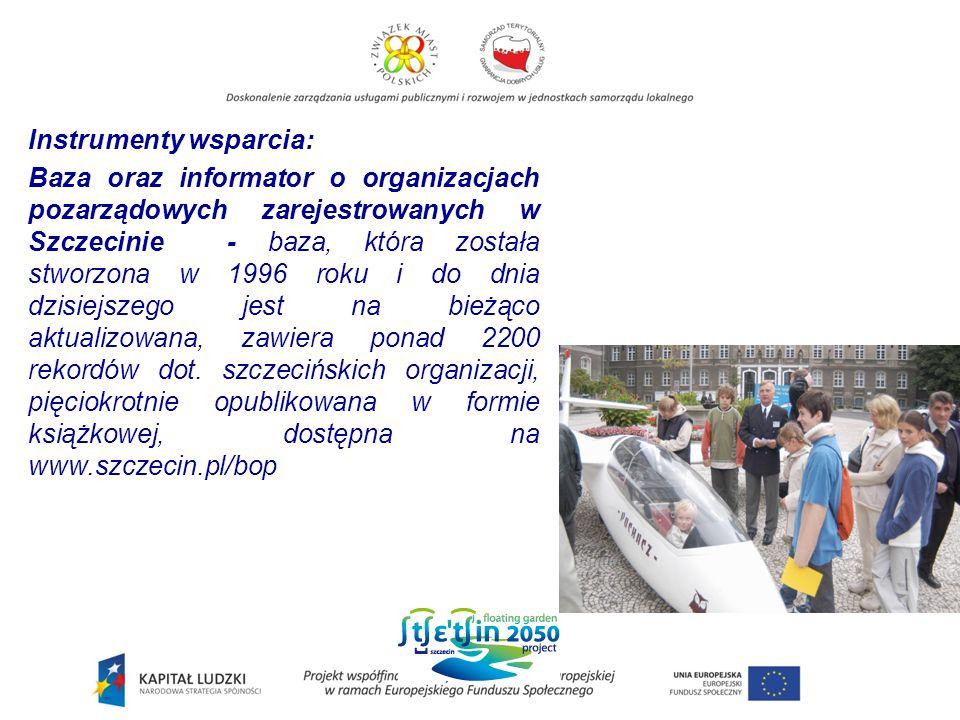 Instrumenty wsparcia: Baza oraz informator o organizacjach pozarządowych zarejestrowanych w Szczecinie - baza, która została stworzona w 1996 roku i do dnia dzisiejszego jest na bieżąco aktualizowana, zawiera ponad 2200 rekordów dot.