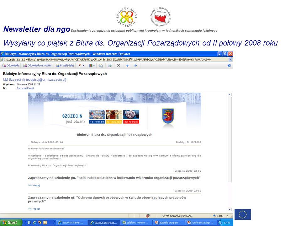 Newsletter dla ngo Wysyłany co piątek z Biura ds. Organizacji Pozarządowych od II połowy 2008 roku