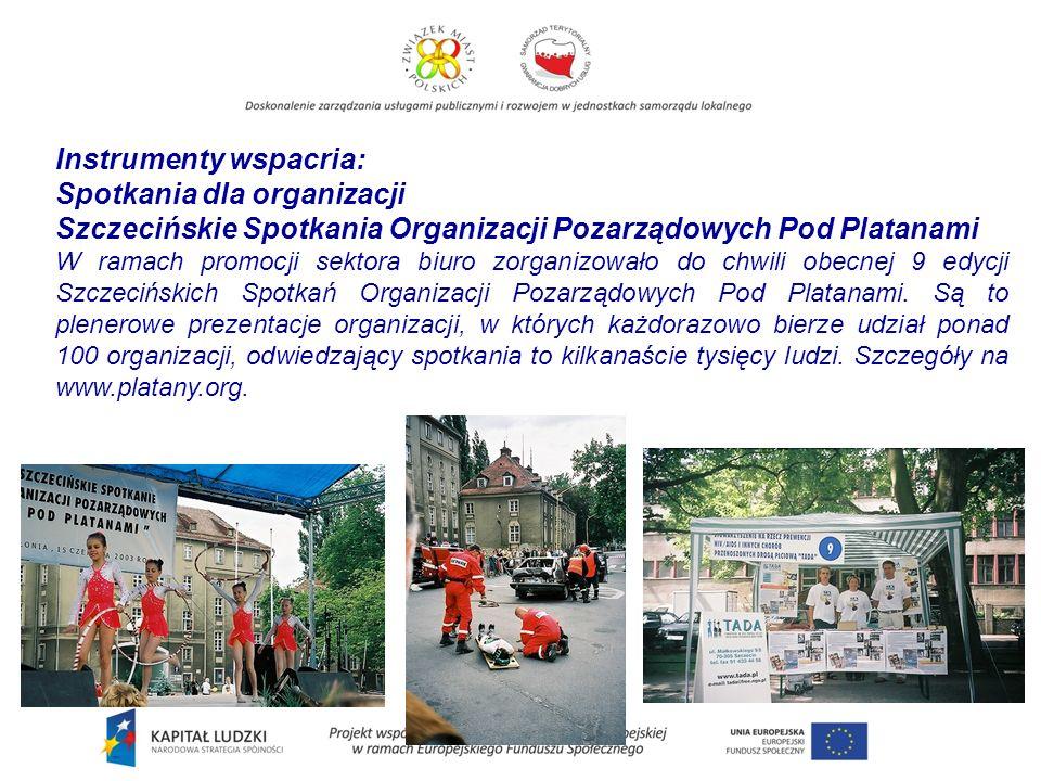 Instrumenty wspacria: Spotkania dla organizacji Szczecińskie Spotkania Organizacji Pozarządowych Pod Platanami W ramach promocji sektora biuro zorganizowało do chwili obecnej 9 edycji Szczecińskich Spotkań Organizacji Pozarządowych Pod Platanami.
