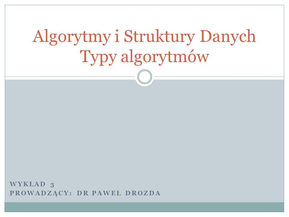 Plan wykładu Brute force Rekurencje Metoda zachłanna Programowanie dynamiczne dr Paweł Drozda
