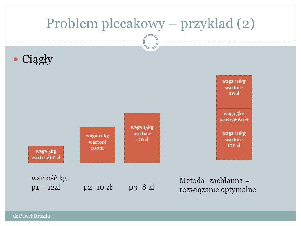 Programowanie dynamiczne dr Paweł Drozda Główne zastosowanie – problem optymalizacji Podobne do metody dziel i zwyciężaj Stosowane gdy podproblemy nie są niezależne Każdy podproblem rozwiązywany tylko raz – wynik rozwiązania zapamiętywany