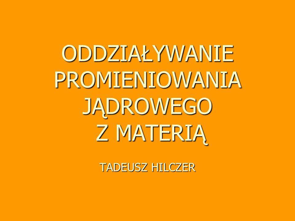 Tadeusz Hilczer, wykład monograficzny 32 Zagrożenie promieniowaiem zewnetrznym (%) 0,03 0,12 reszta 0,03 kości 0,15 0,25 Wg.