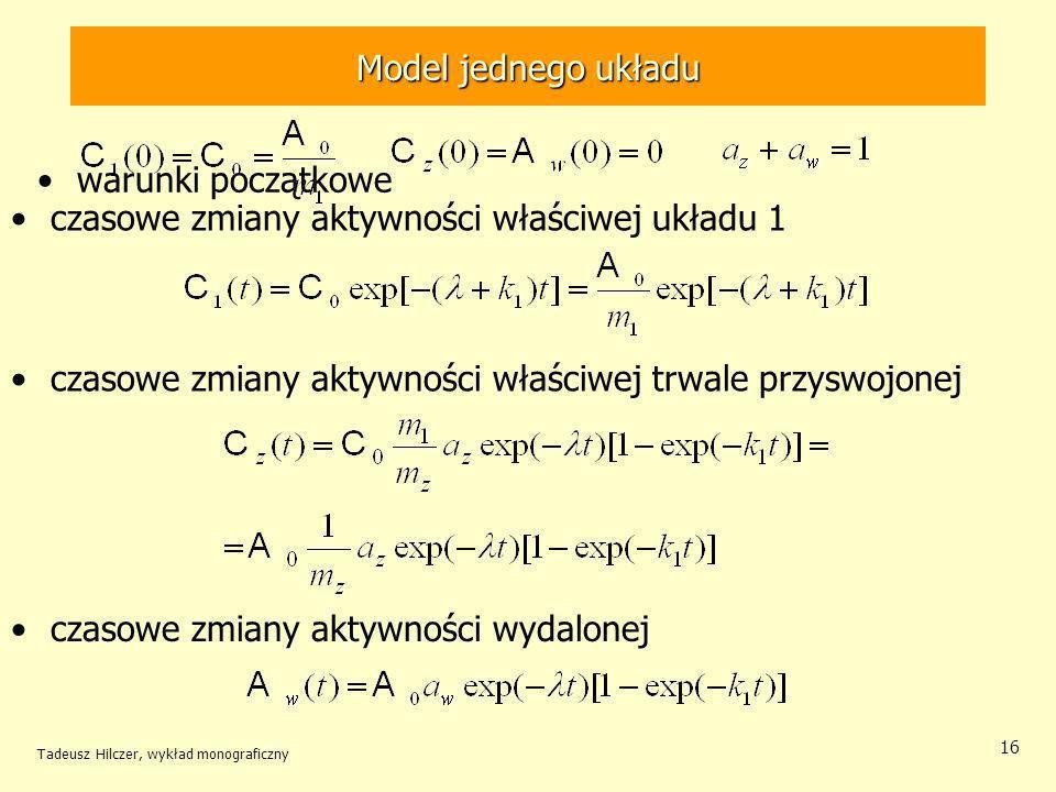 Tadeusz Hilczer, wykład monograficzny 16 warunki początkowe Model jednego układu czasowe zmiany aktywności właściwej układu 1 czasowe zmiany aktywności właściwej trwale przyswojonej czasowe zmiany aktywności wydalonej