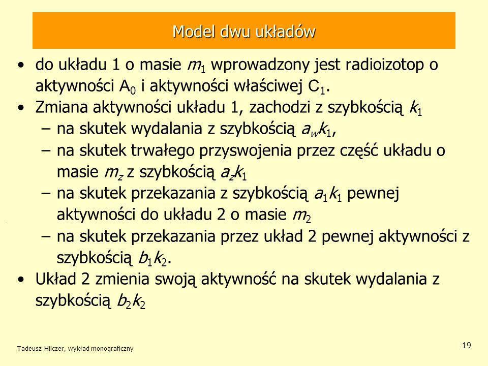 Tadeusz Hilczer, wykład monograficzny 19 do układu 1 o masie m 1 wprowadzony jest radioizotop o aktywności A 0 i aktywności właściwej C 1.