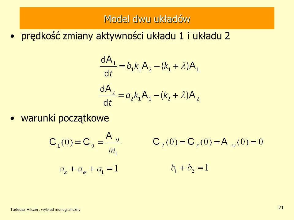 Tadeusz Hilczer, wykład monograficzny 21 prędkość zmiany aktywności układu 1 i układu 2 warunki początkowe Model dwu układów