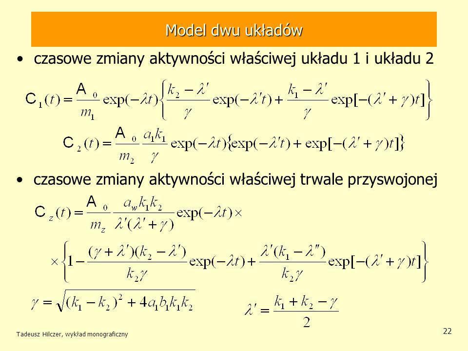 Tadeusz Hilczer, wykład monograficzny 22 czasowe zmiany aktywności właściwej układu 1 i układu 2 czasowe zmiany aktywności właściwej trwale przyswojonej Model dwu układów